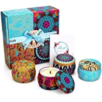 Scented Candles Gift Set, Soy Wax 4.4 Oz Portable Travel Tin Candles Women Gift with Strongly Fragrance Essential Oils…