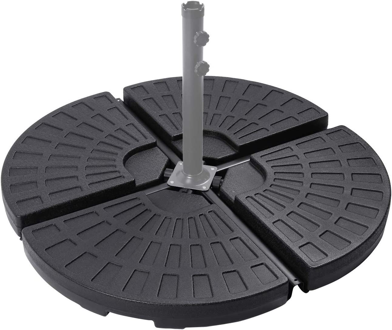 """Sunnyglade 18.9"""" 4Pcs 13L Fan Shaped Water or Sand Filled Umbrella Base/Fan Style Self-Filled Cantilever Offset Umbrella Base Stand Suitable for All Kinds of Cross Tiles (Black)"""