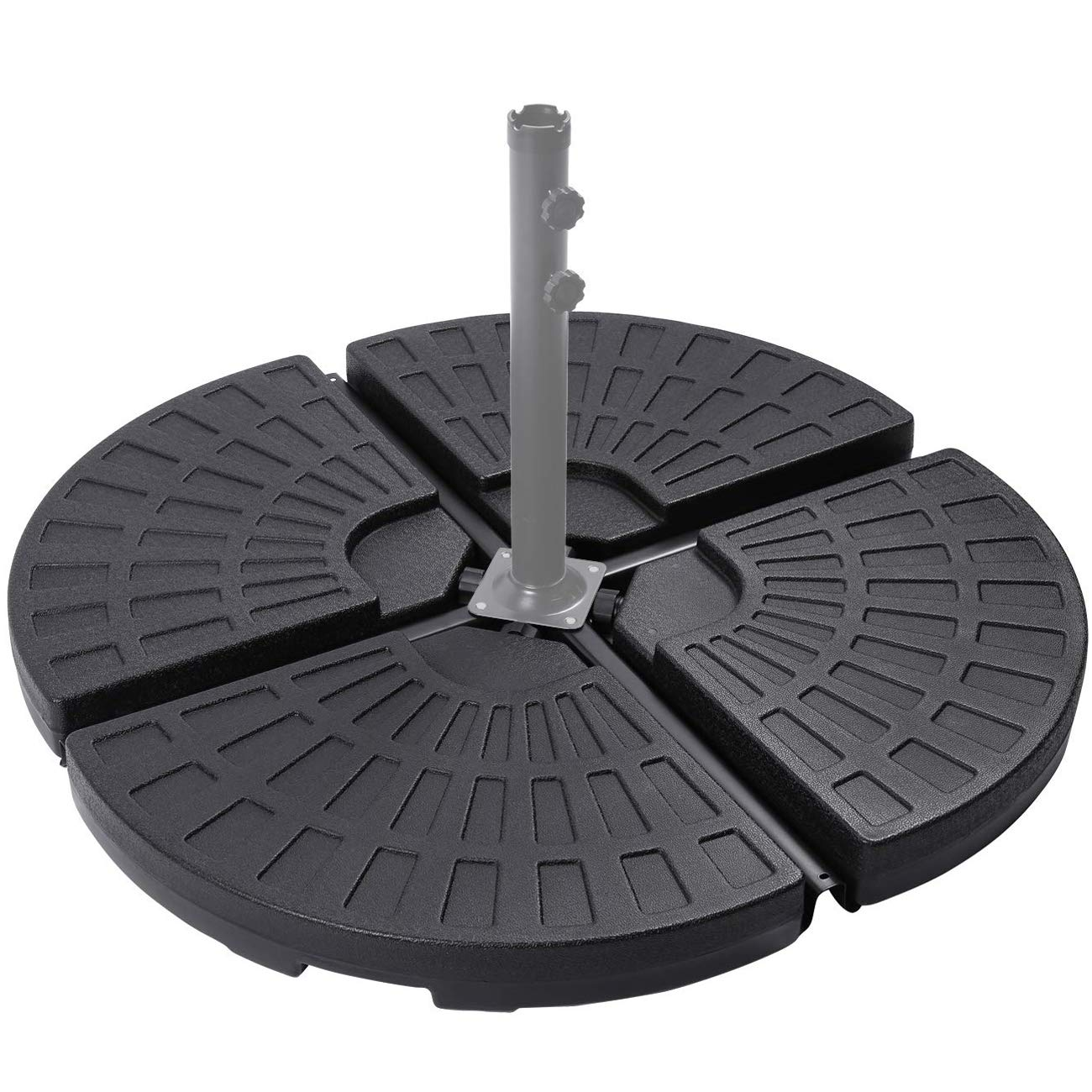Sunnyglade 18.9'' 4Pcs 13L Fan Shaped Water or Sand Filled Umbrella Base/Fan Style Self-Filled Cantilever Offset Umbrella Base Stand Suitable for All Kinds of Cross Tiles (Black)
