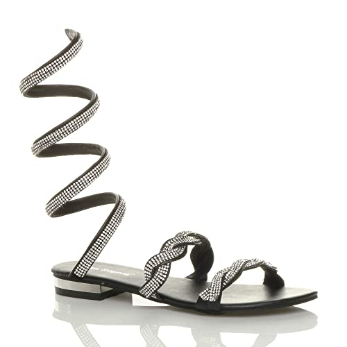 0dbededf16807 Ajvani Womens Ladies mid Heel Sparkly Diamante wrap Around Ankle Strap  Sandal Size 3 36