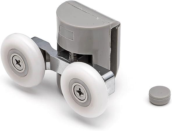 2 x superior doble para mampara de ducha de soportes para cañas de pescar/guías de/ruedas 22 mm diámetro de la rueda L082: Amazon.es: Hogar