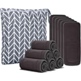 Damero 5-Layer Charcoal Bamboo Reusable Diapers Baby Inserts, 12PCS Cloth Diaper Inserts with an Extra Storage Bag