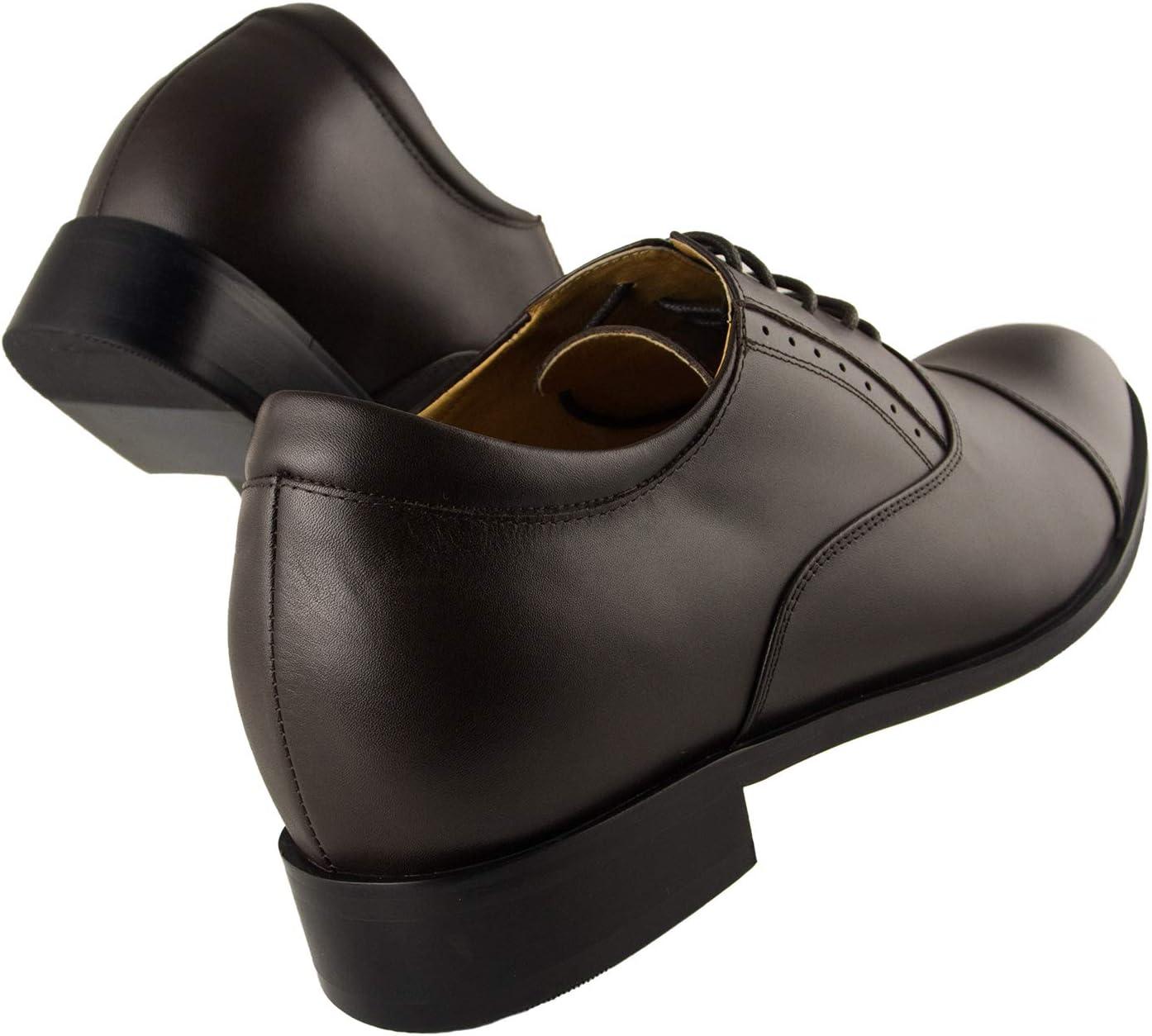 Zerimar schoenen voor mannen verhogen op onzichtbare wijze je lichaamslengte: hoogte verstelbaar, verborgen heftige hiel, verhoogt je hoogte tot + 8 cm. Bruin