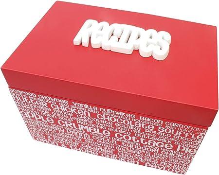 Splosh – Caja de recetas Receta/receta organizador – con relieve letras en blanco y rojo – incluye tarjetas de recetas – Tapa con bisagra: Amazon.es: Hogar