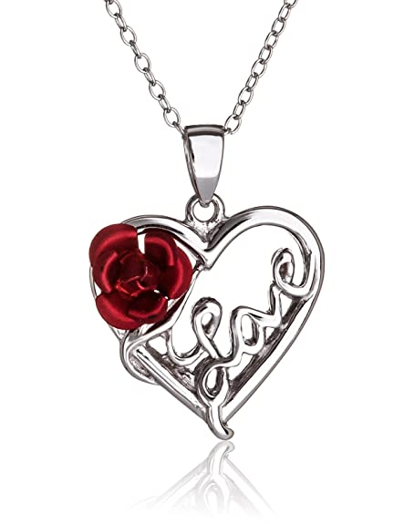 Amazon silverluxe womens sterling silver love heart with red silverluxe womens sterling silver love heart with red rose pendant necklace 18quot mozeypictures Choice Image
