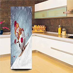 3D Snowman Decor Door Fridge Stickers Wall Mural, 23.6x59.1 Inch, Skiing 3D Style Winter Self-Adhesive Door Wallpaper Murals Stickers Full Door Cover for Home Decor