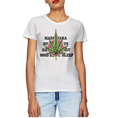 d3324288722 Goddardjggsgf Women Cotton Casual T Shirt Short Sleeve Round Neck T-Shirt  Marijuana Side Effects