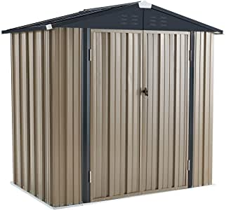U-MAX 6' x 4' Outdoor Metal Storage Shed, Steel Garden Backyard Shed With Double Door & Lock, Utility Tool Storage, Gray and Black