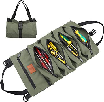 Wessleco Roll Up Pouch, Wrench Roll Up Bag Multi-Purpose Canvas Tool Rool Organizer (Green)