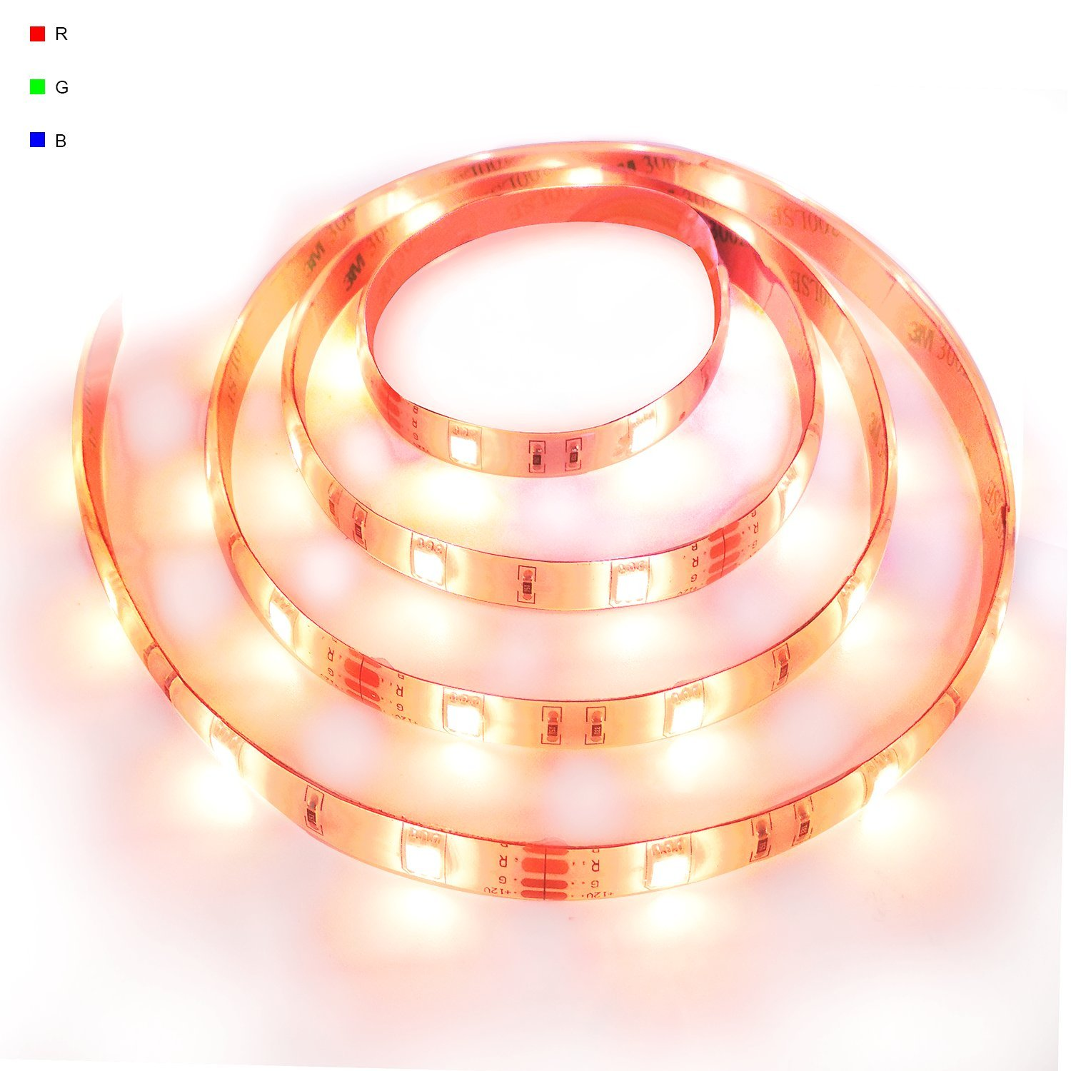 LED Flexible Strip Lights RGB 150LEDs 16.4Ft(5M) DC12V SMD5050 4Pin Dimmable Multicolor Tape Lighting for DIY Christmas Garden Outdoor Closet TV Backlight Mirror Decoration (Waterproof)