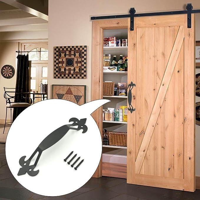 topetek mango deslizante puerta del establo - 11 Inch cuerno de buey forma rústico puerta tirador para cobertizo, garaje y granero puertas - negro Acabado ...