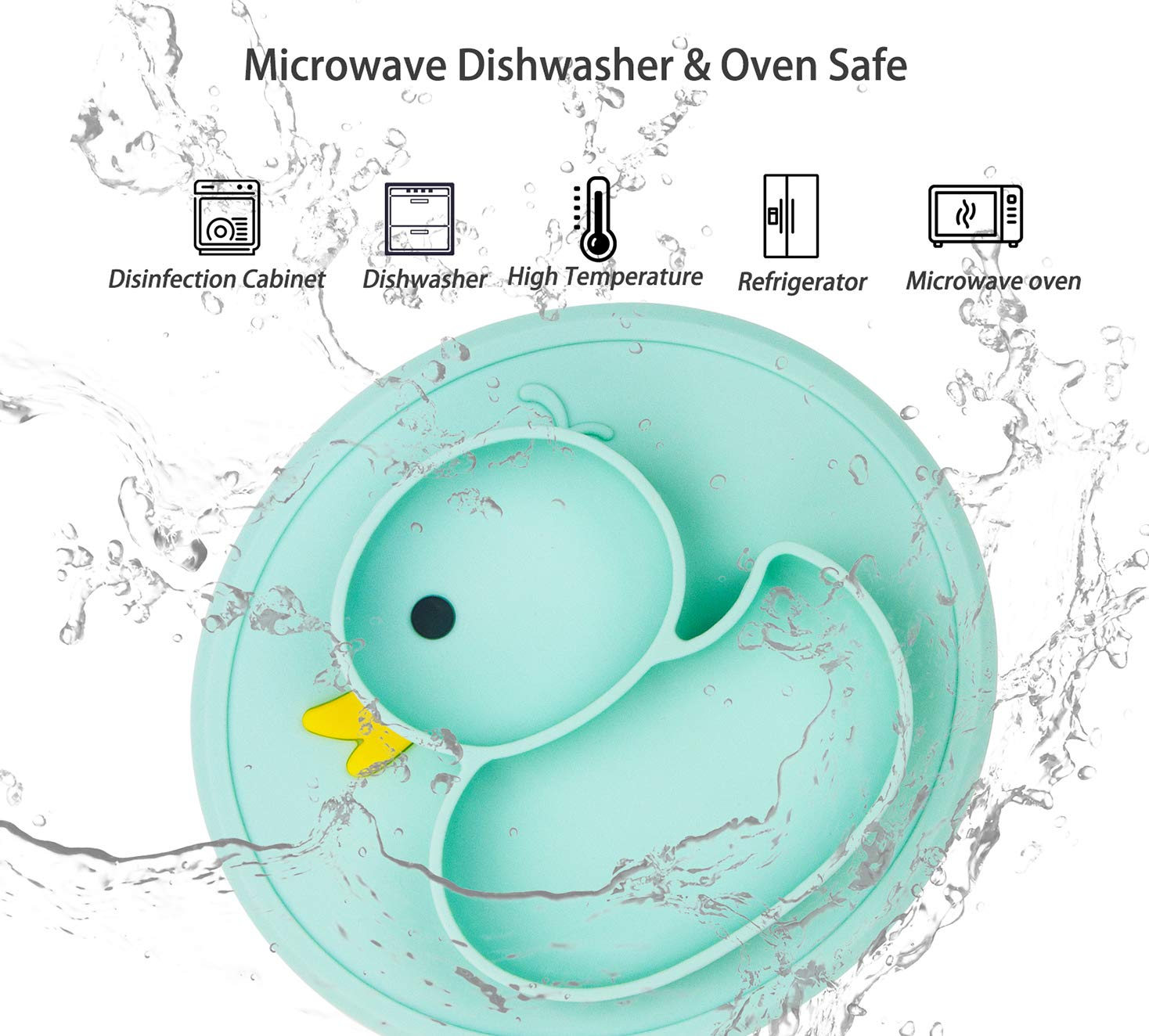 Dishwasher and Microwave Safe Baby Suction Plates Blue//Yellow Non-Slip Feeding Plate for Toddlers Babies Kids with Suction Cups Fits Most Highchair Trays BPA-Free FDA Approved