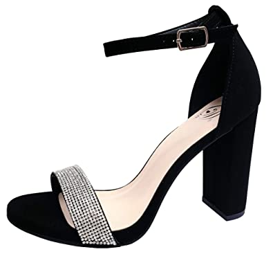 abf739b74ff Harper Shoes Women's Open Toe Crystal Rhinestone Ankle Strap Chunky High  Heel Dress Sandal