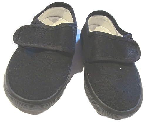 4f48f460c210 New Season Unisex Slip On Adjustable Gusset Velcro School PE Plimsoles  Juniors (13 Child UK