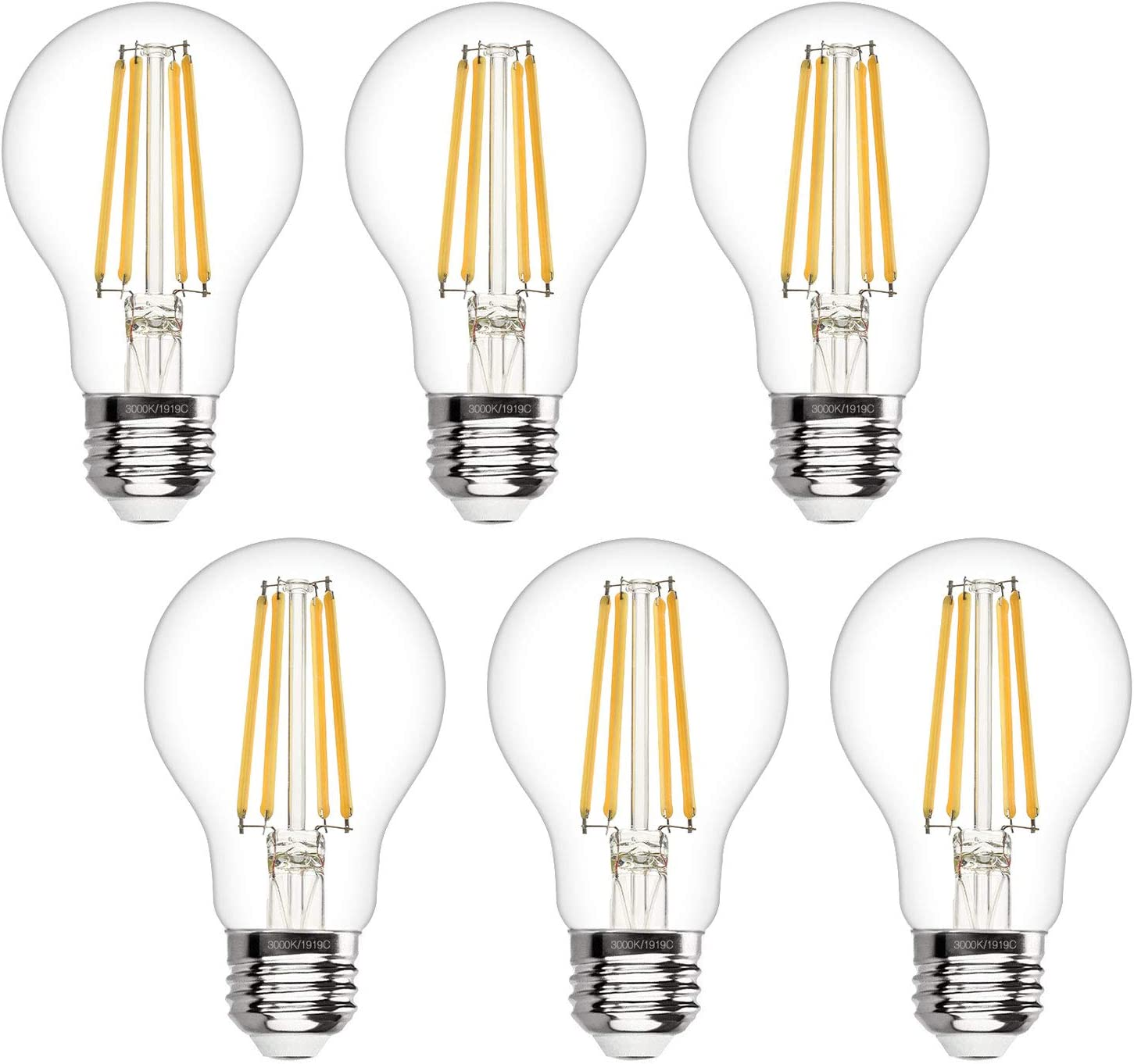 Boncoo A19 LED Edison Bulb Dimmable 6W LED Filament Light Bulbs 60W Incandescent Equivalent Led Vintage Bulb 3000K Soft White 620LM E26 Medium Base Decorative Clear Glass for Home, Office, 6 Pack