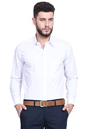 e698f7c845a VERSATYL 100% Cotton Slim Fit Full Sleeve Shirts For Men ( White Color ) (