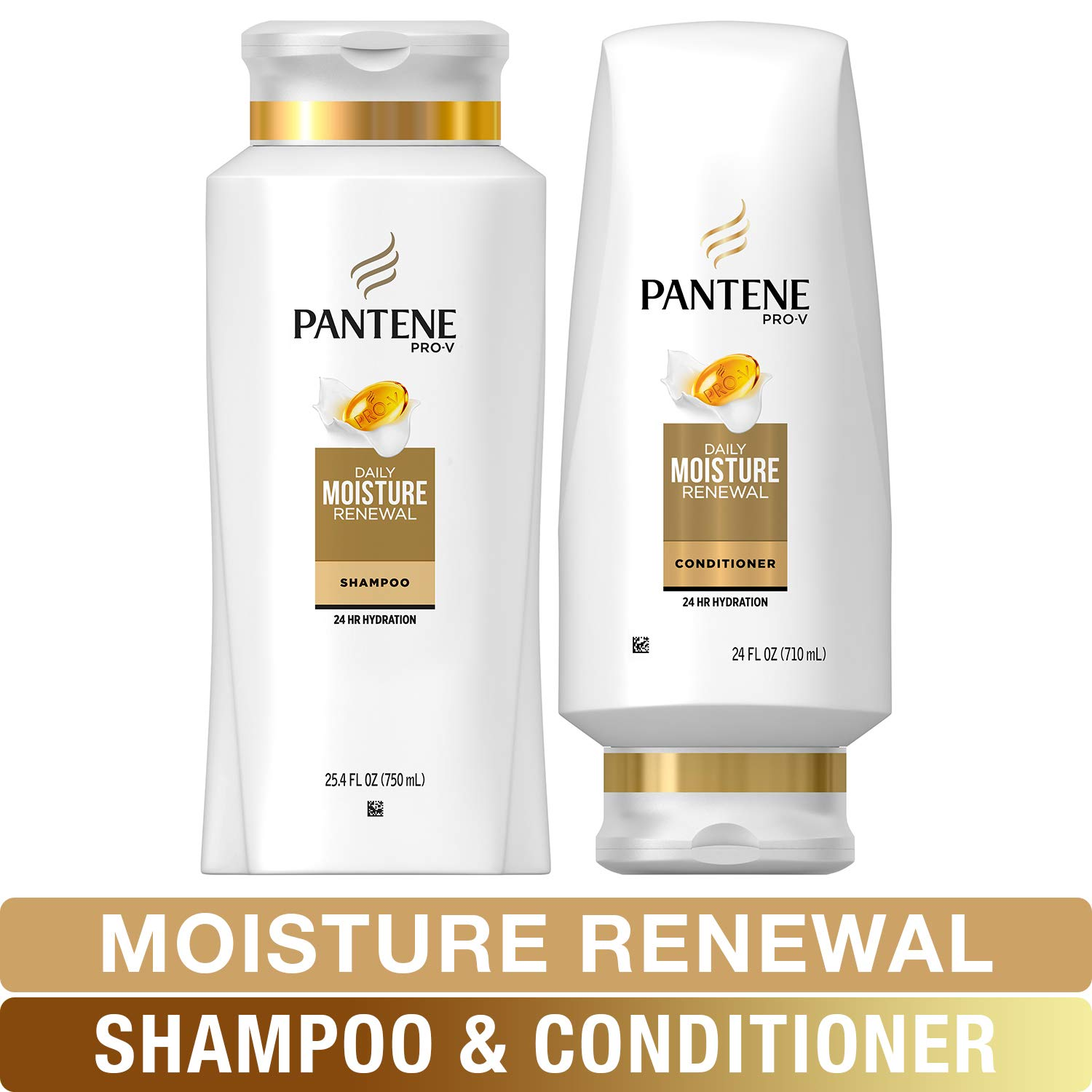 Pantene Moisturizing Shampoo and Silicone-Free Conditioner for Dry Hair, Daily Moisture Renewal, Bundle Pack, 1 Set by Pantene