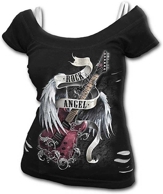 Camiseta Rock Negra Angel Mujer