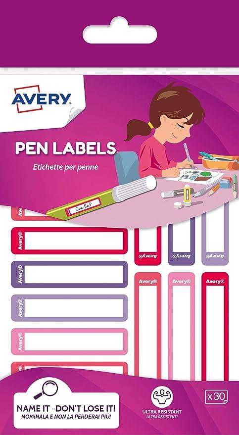Avery España RESMI30F-UK. Etiquetas para bolígrafos y lápices rosa y violeta, 50x10mm, 30 etiquetas por sobre: Amazon.es: Oficina y papelería