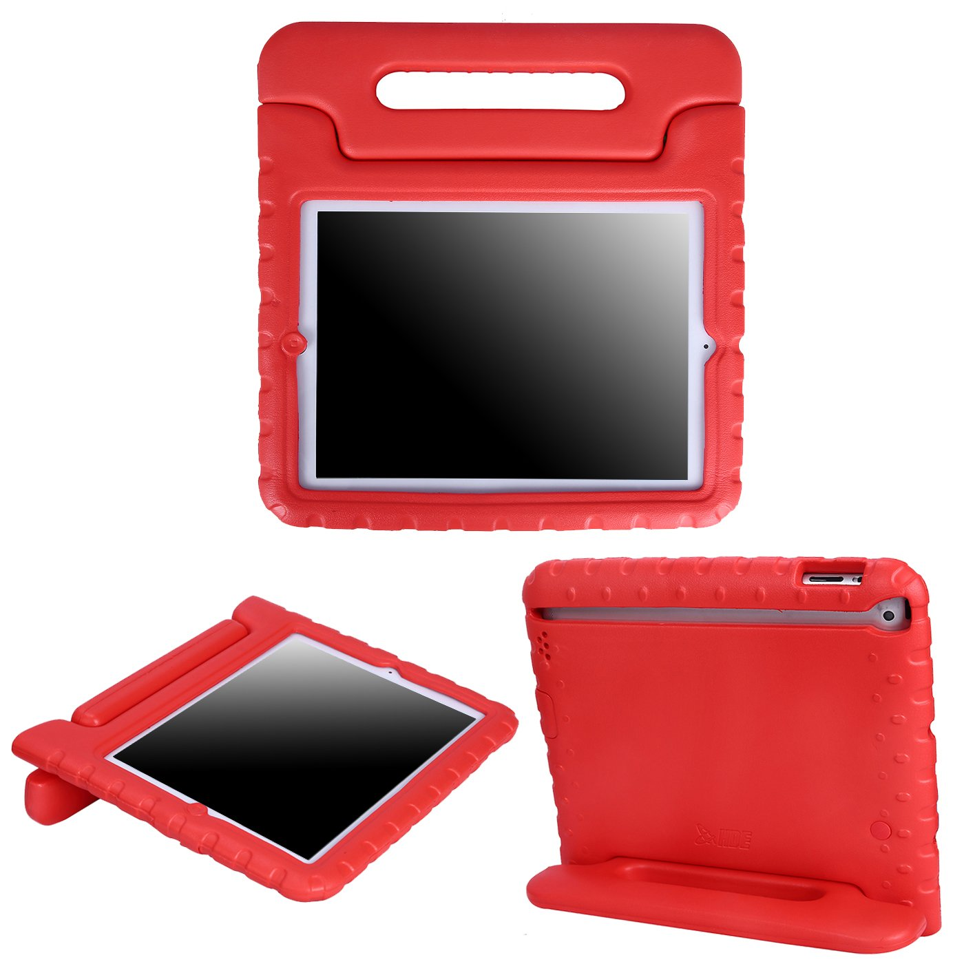 HDE Shock Proof iPad Case for Kids Bumper Cover Handle Stand for Apple iPad 2 iPad 3 iPad 4 (Red) FBA_HDE-C103