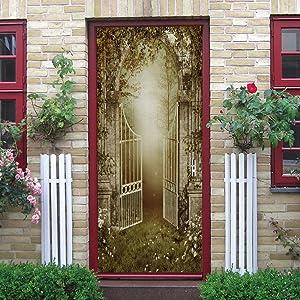 JINHECH 3D Fairy Forest Garden Self-Adhesive Door Wallpaper Murals Wall Stickers -Peel and Stick Door Poster for Home Decoration Vinyl Removable Art Decal Mural Poster Waterproof Door Wallpap 77x200cm