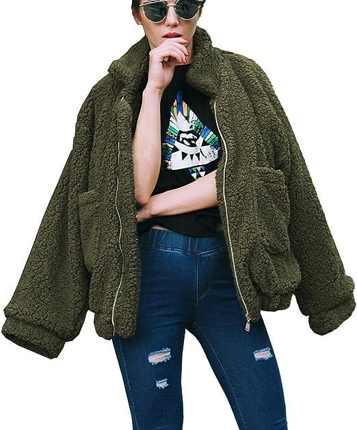 PRETTYGARDEN Damen Fashion Langarm Revers Zip Up Faux Shearling Shaggy Maxi Mantel Jacke mit Taschen Warmer Winter