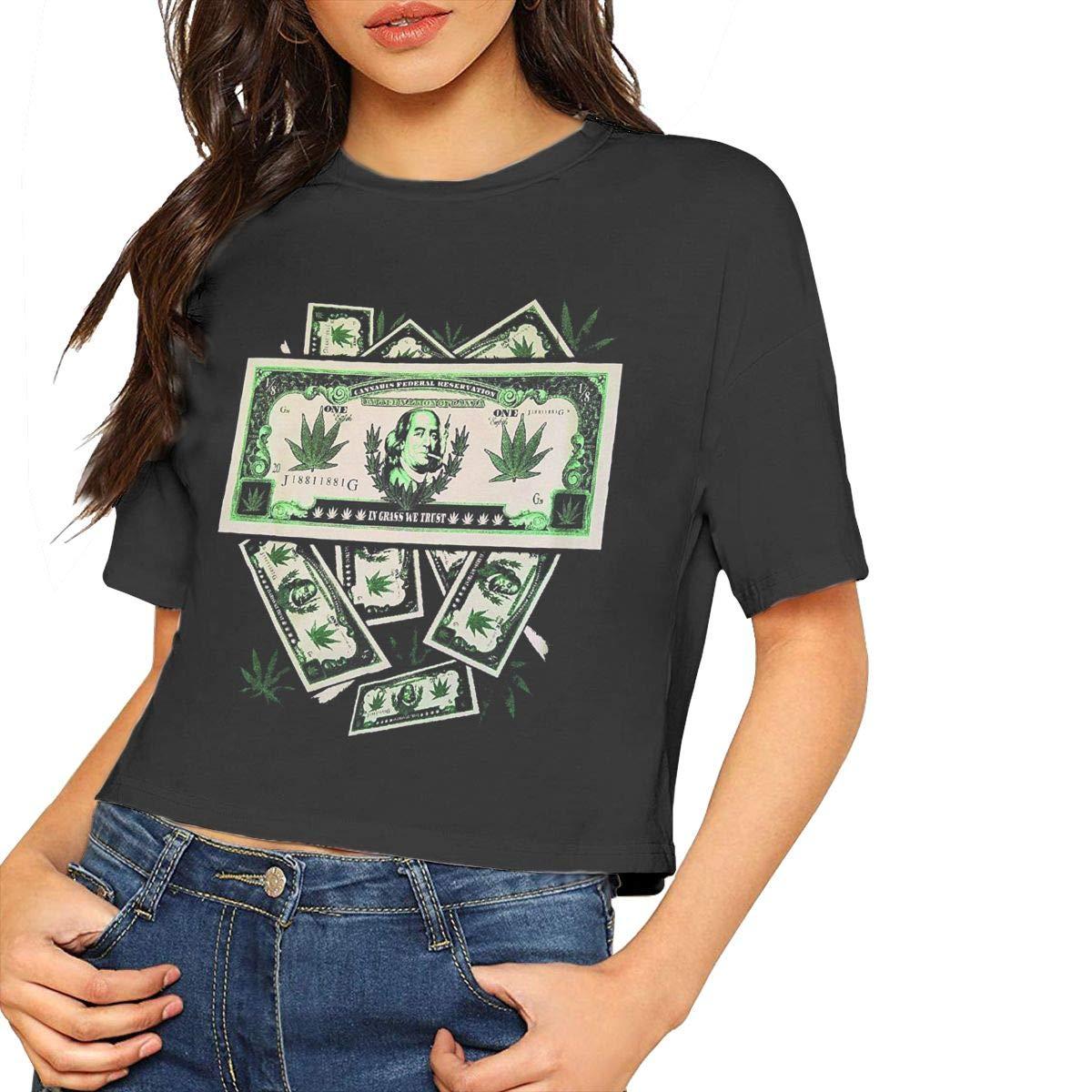 Lizdxtas Money In Grass We Trust Sexy Navel,fashion Classic T Shirt