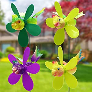 FENELY Garden Pinwheels Whirligigs Wind Spinner Windmill Toys for Kids Yard Decor Lawn Decorations Parrot Decorative Garden Stakes Outdoor Whirlygig Windmills Gardening Art Whimsical Baby Gifts