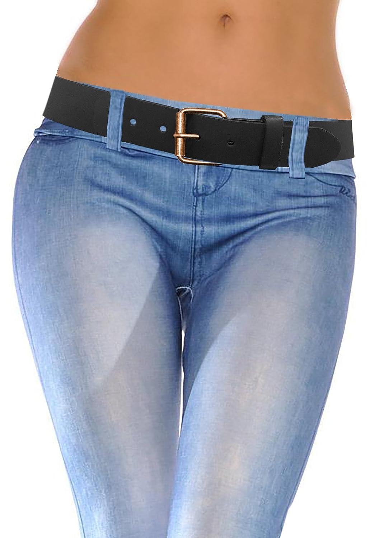 LUNA Women's Thick Wide Leather Belt - Brushed Copper - Black -X Large