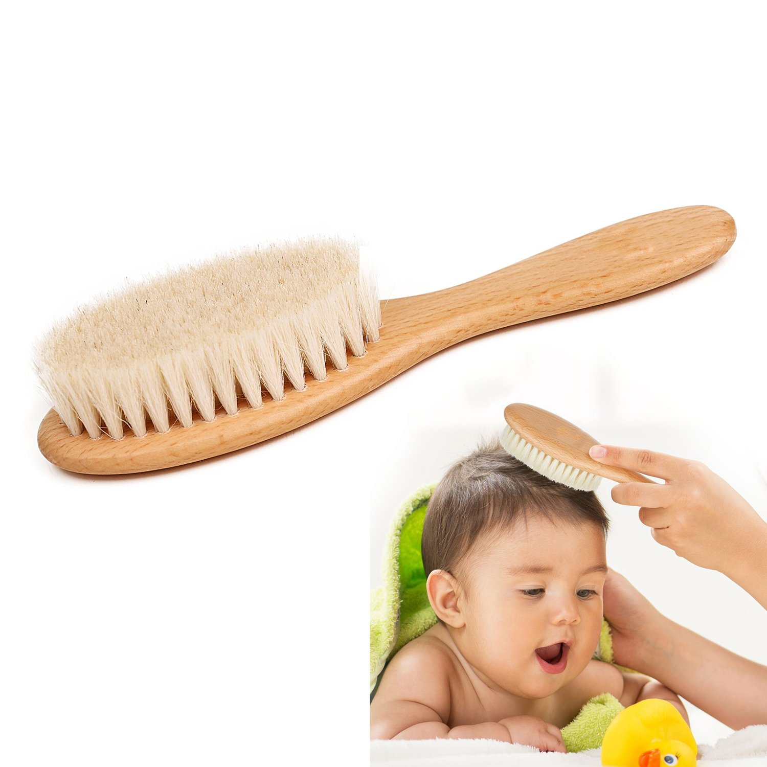 Baby Wooden Hair Brush Soft Goat Bristles Premium Wooden Baby Brush for Cradle Cap, Boys & Girls, Toddler & Newborn, Baby Shower Gift & Registry (wooden) Ouchver