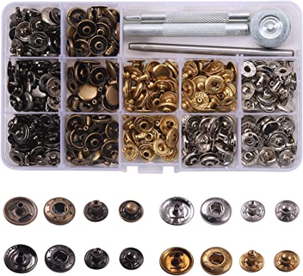 4 Color Clothing Snaps Kit for DIY crafts 15.5mm 80 Set Snaps Button Jacket Jeans Wear Bags Leather Shoes 15.5 mm in Diameter Sewing Snaps Clothing Snap Fastener Kit,Metal Snaps Buttons with Fixing Tools