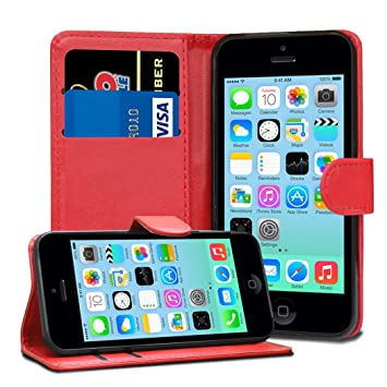 brand new af594 ba50e TypeandColor® Red iPhone 5C Case Leather Flip Wallet Case Cover Pouch  Holder - Apple iPhone 5C Case Cover & Screen Protector