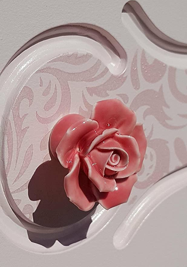 DLD Knöpfe, 8 Elegant Pink Rose zieht Blume Keramik Schrank Knöpfe ...