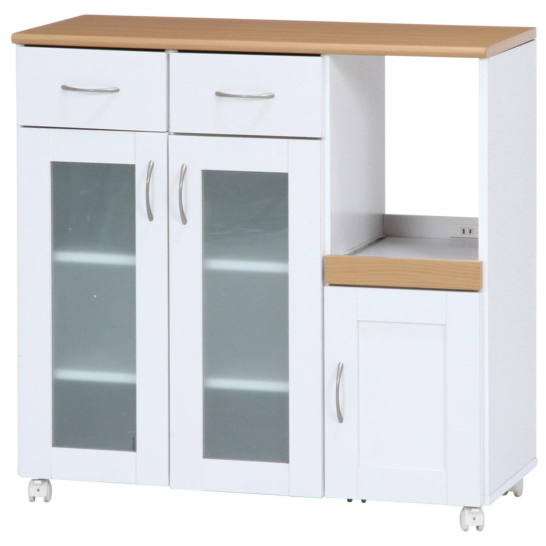 不二貿易 キッチンカウンター サージュ 幅90cm ホワイト ナチュラル 96819 B01D88HF5Iホワイト/ナチュラル