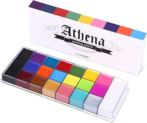 UCANBE 20 Color Athena Face Body Paint Oil - Large Pan Black & White, Professional Non Toxic SFX Makeup Palette, Hypoallergenic Face Painting Pallet for Art, Theater, Halloween, Parties and Cospla...