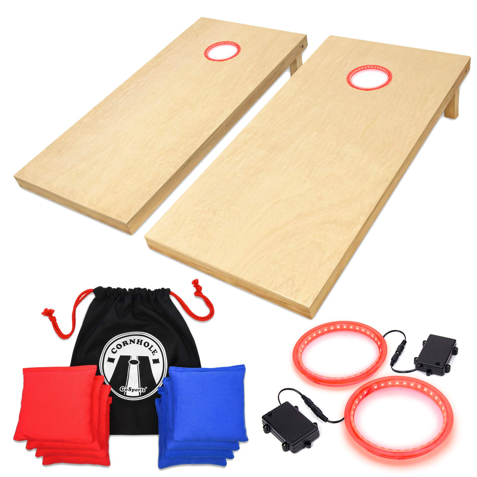 GoSports 4' x 2' Wooden Cornhole Set with Red LED Rings