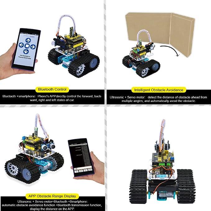 Keyestudio - Coche inteligente Bluetooth ultrasónico con mando a distancia, tanque para montar, coche inteligente robótico para Arduino Starter: Amazon.es: ...