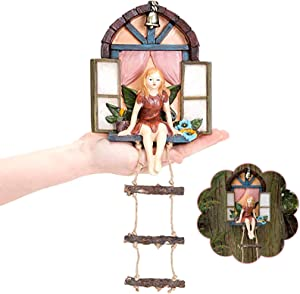 Fairy Garden Gnome Decor Mini Fairy Window Door House with Ladder Hanging Tree Sculpture Outdoor Miniature Statue Hand Painted Cartoon Dwarf Accessories for Yard Tree Decoration