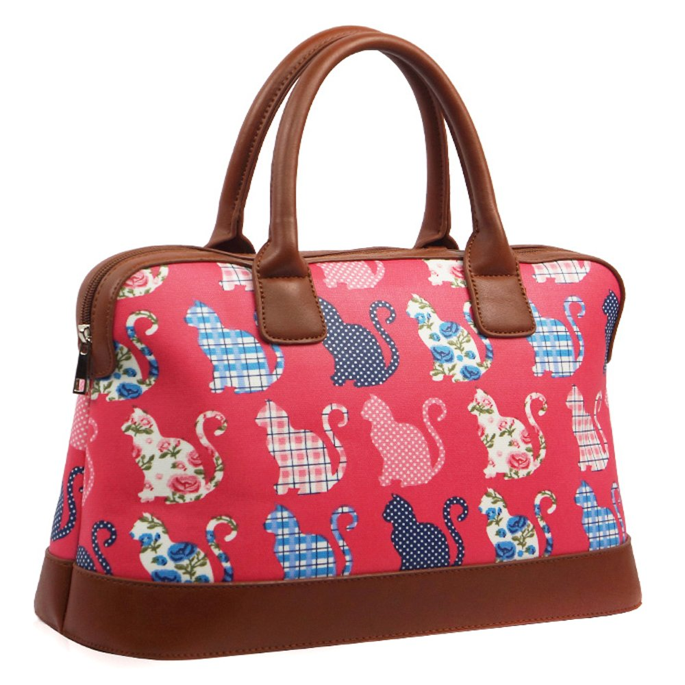 Ladies Oilcloth Cute Cat Holdall Weekend Travel Shoulder Bag Handbag Womens:  Amazon.co.uk: Shoes & Bags
