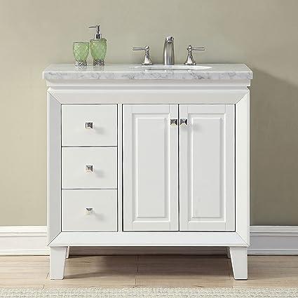 amazon com silkroad exclusive v0320ww36r bathroom vanity carrara rh amazon com black marble top bathroom vanity black marble top bathroom vanity