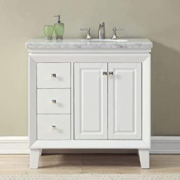 Wondrous Silkroad Exclusive V0320Ww36R Bathroom Vanity Carrara White Marble Top Single Sink Cabinet 36 Download Free Architecture Designs Scobabritishbridgeorg
