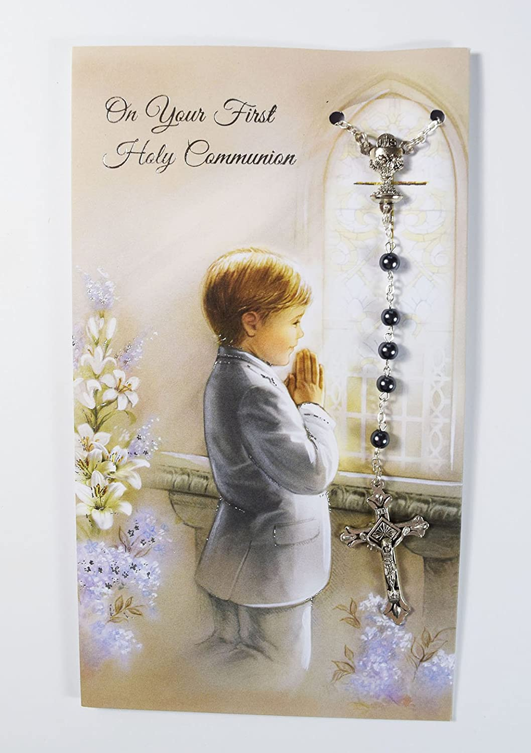 First 1st Holy Communion Greeting Card With Rosary Beads Grey For