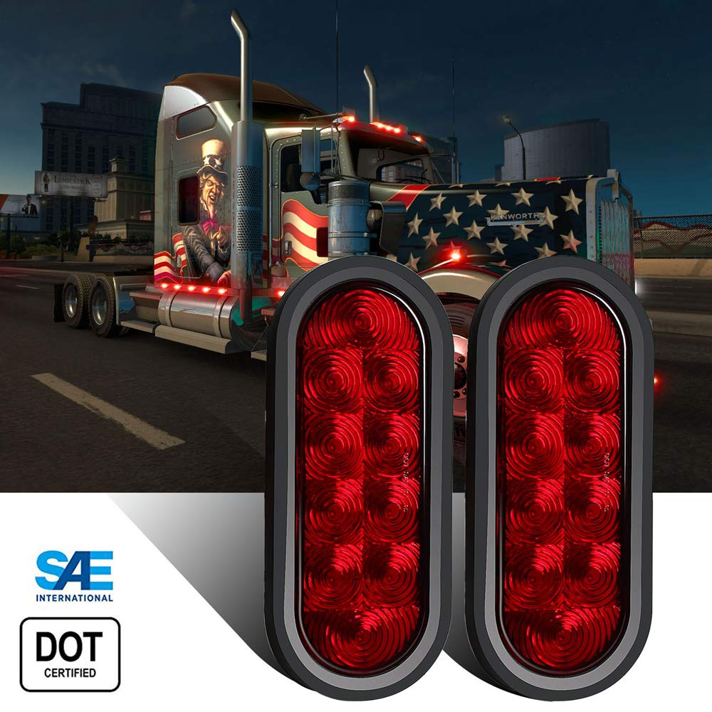 WINUNITE Oval Red LED Trailer Lights 6 Inch(DOT Certified)- 10 LED Stop/Turn/Tail LED Lights for RV, Trucks and Trailers with Grommet and Plug(Pack of 2) by WINUNITE