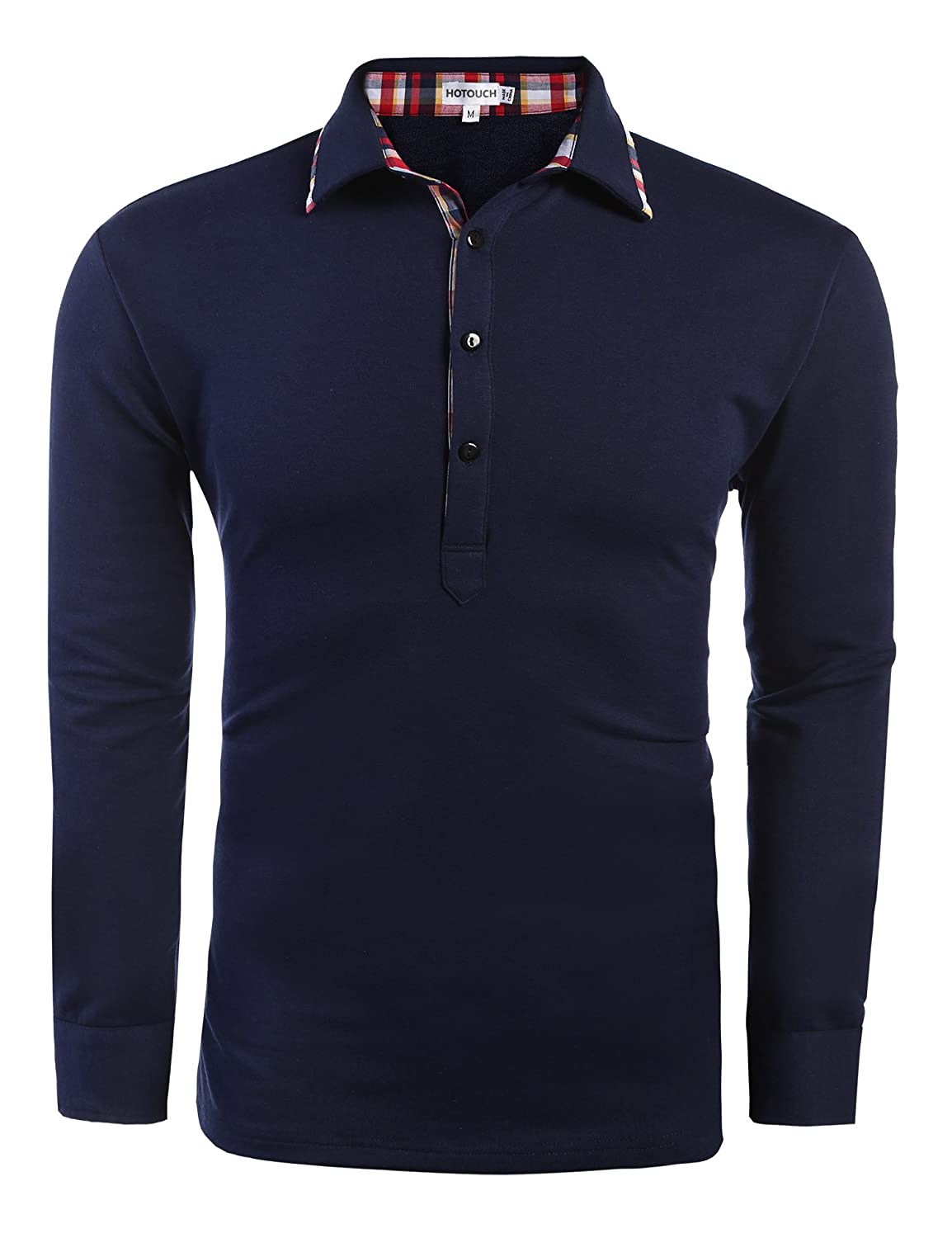 Hotouch Mens Casual Solid Check Placket Long Sleeve Polo Shirt AMJ005095
