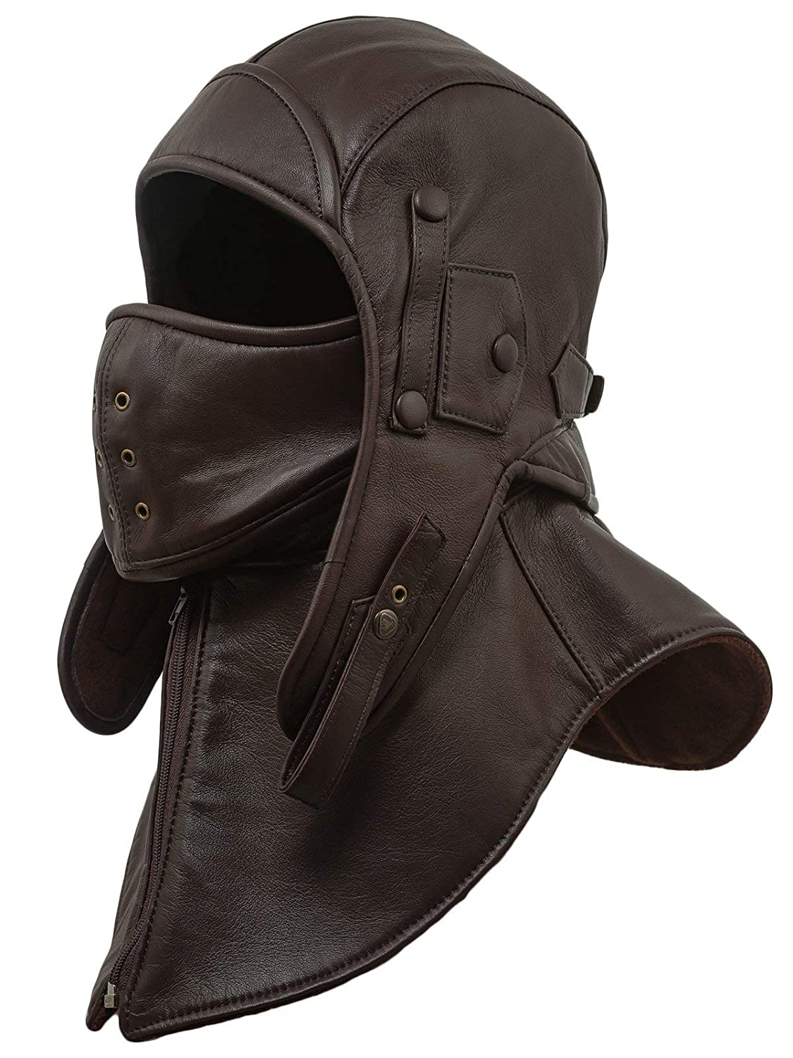 1d4df57e0 Sterkowski Siberia Genuine Leather Aviator Cap with Mask and Collar
