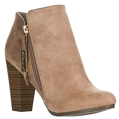 Breckelles Women's Gina-31 Faux Suede Chunky Heel Ankle Booties Natural 8.5