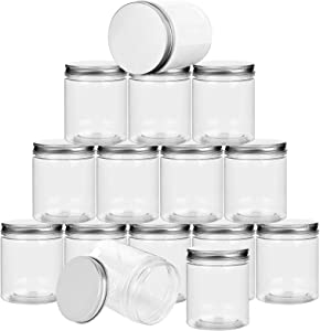 LISHINE 20 Pack Clear Plastic Slime Storage Favor Jars, Wide-Mouth Plastic Jars Containers with Screw On Lids, Refillable Small Round Slime Containers for Beauty Products, Kitchen & Household Storage