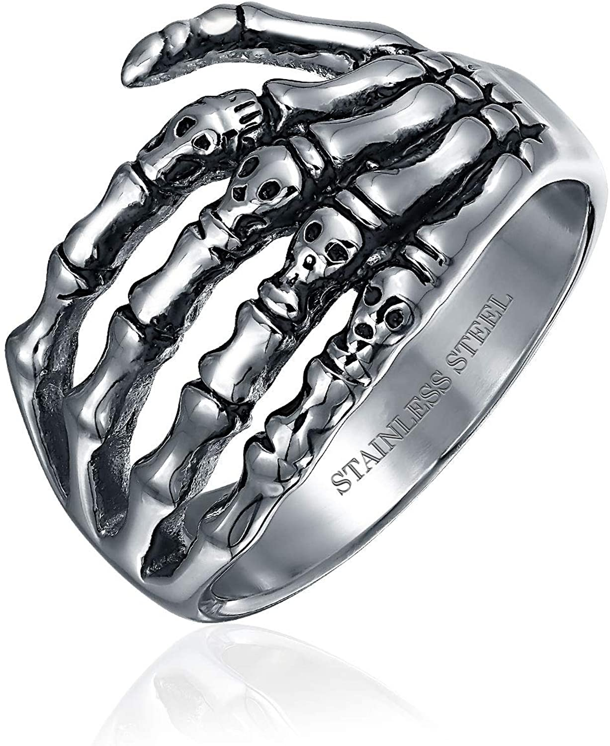Bling Jewelry Goth Biker Punk Rocker Skelton Hand Wrap Band Ring for Men for Teen Oxidized Silver Tone Stainless Steel