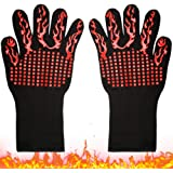 BBQ Grill Gloves 1 Pair, Heat Resistant Kitchen Oven Mitts Pot Holder, Silicone Non-Slip Insulated Cooking Hot Gloves…