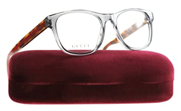 62200e93ea Image Unavailable. Image not available for. Colour  Gucci GG0004O  TRANSPARENT LIGHT GREY STRIPED HAVANA unisex Eyewear Frames